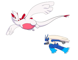 Shiny Lugia and Blue Blaziken by Calphlur