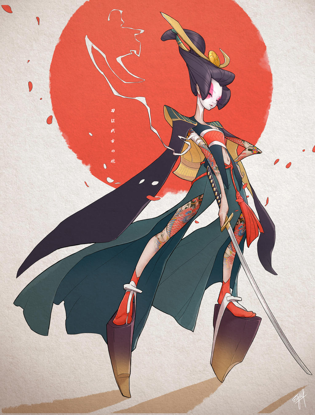 Daily Character Design Challenge : Character design challenge onna bugeisha by engkit on