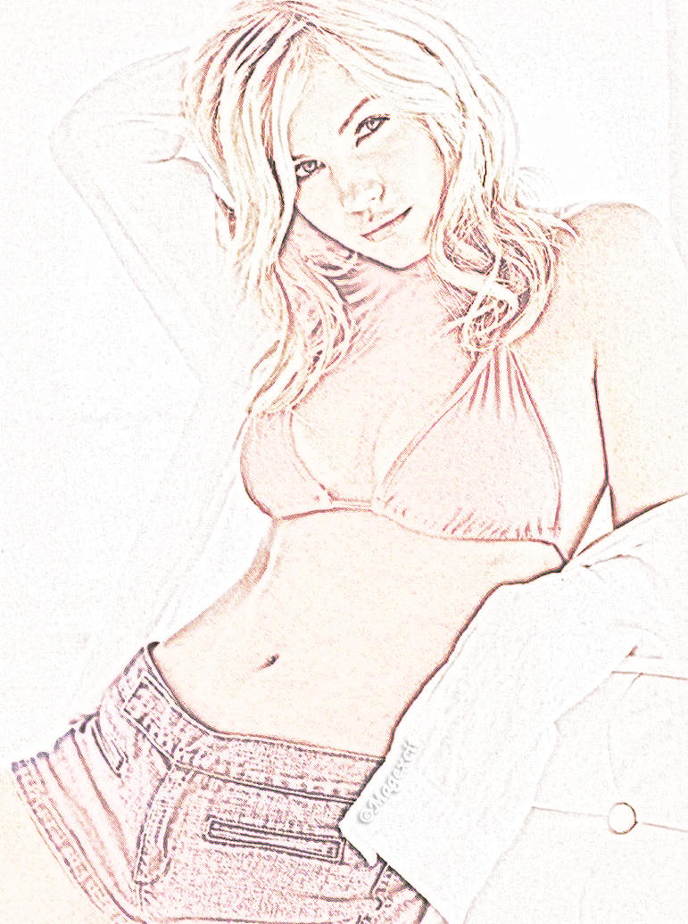Elisha Cuthbert jeans pencil by magXlander