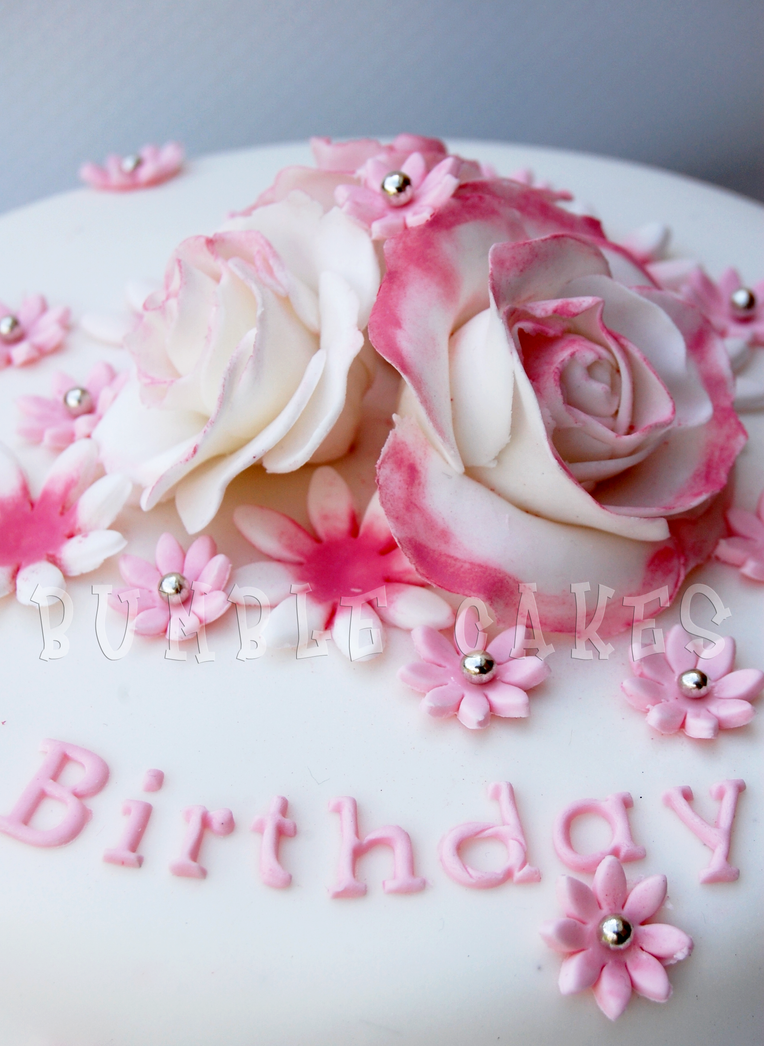 Pink Rose Birthday Cake By Mrsbumble On Deviantart