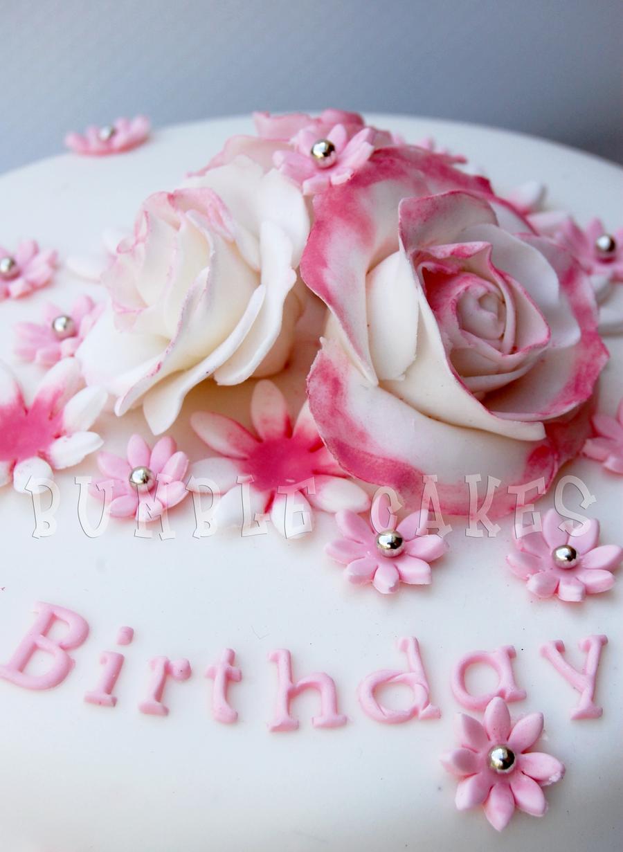 Pink Rose Birthday Cake By Mrsbumble On Deviantart
