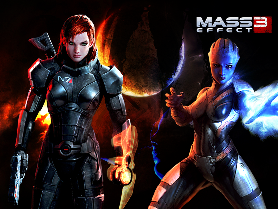 FemShep and Liara: One Last Kiss Wallpaper by suicidebyinsecticide