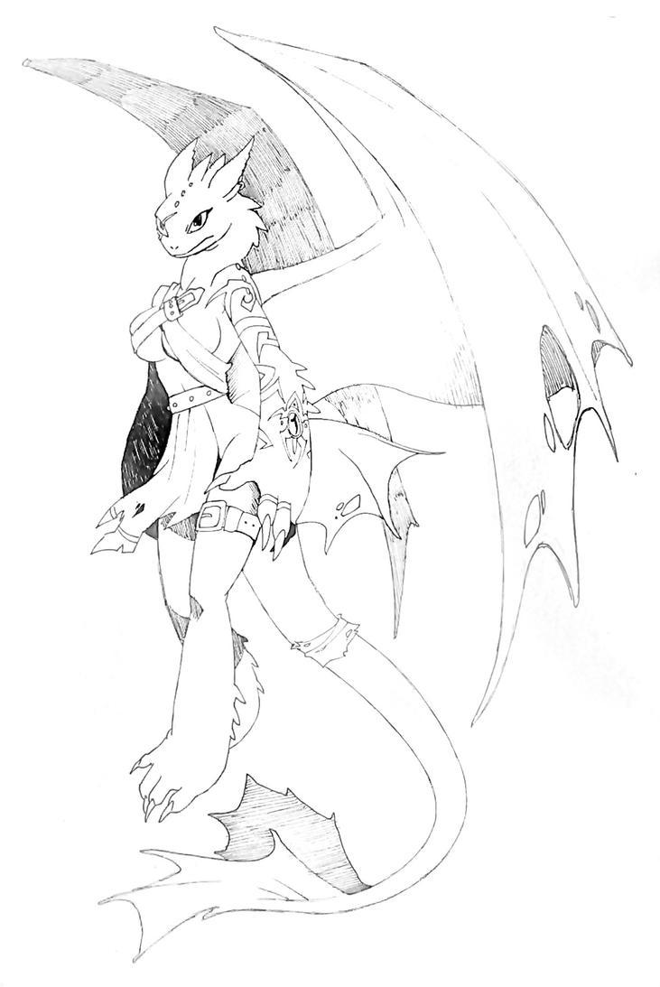 The Demon B/W version by Zenox-furry-man
