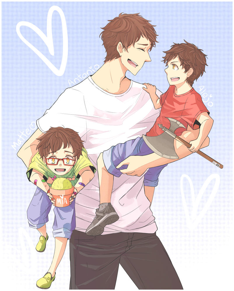 Cooking Papa Kiss Manga: Papa Toni And The Boys By LeZombieCookie On DeviantArt