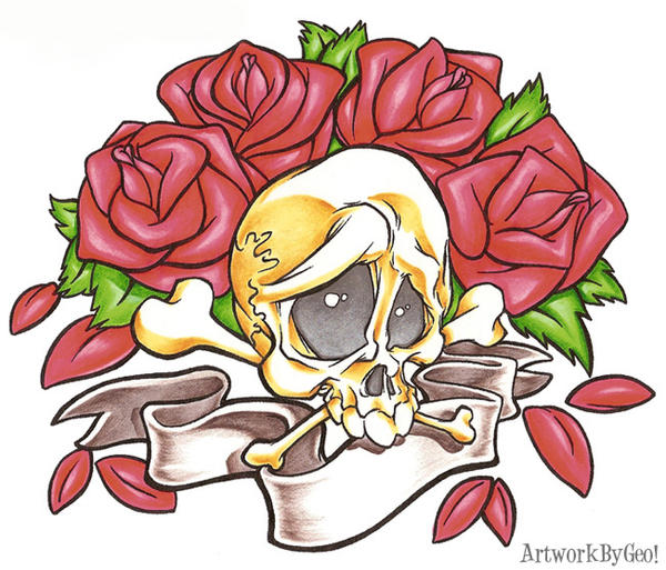 SKULL AND ROSES by ArtworkByGeo