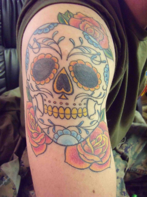 sugar skull tattoo by Gene Coffey From Gene Coffey