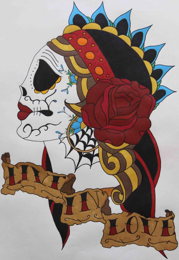 Gypsy Sugar Skull Tattoo by Crystal-Relyks on DeviantArt  Gypsy Sugar Sku...