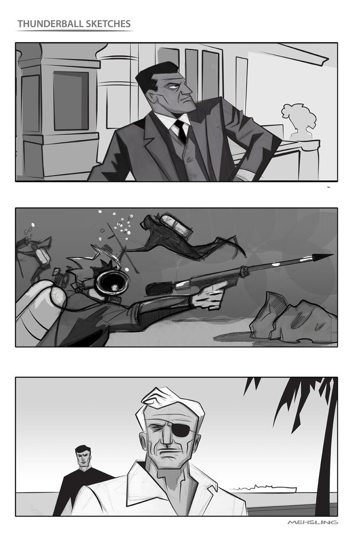 Thunderball Sketches by CartoonCaveman
