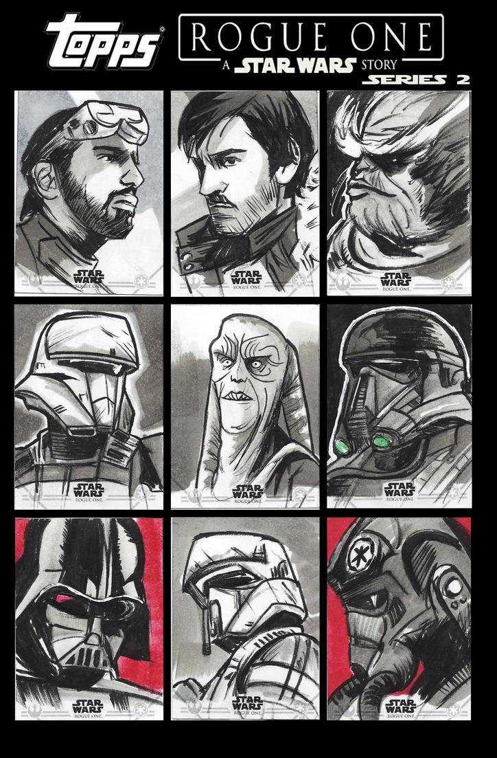 Star Wars Rogue One Series 2 Sketch Cards by CartoonCaveman