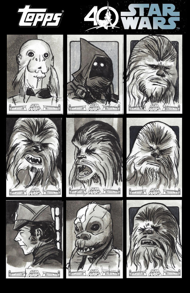 Topps Star Wars 40th Anniversary Sketchcards by CartoonCaveman