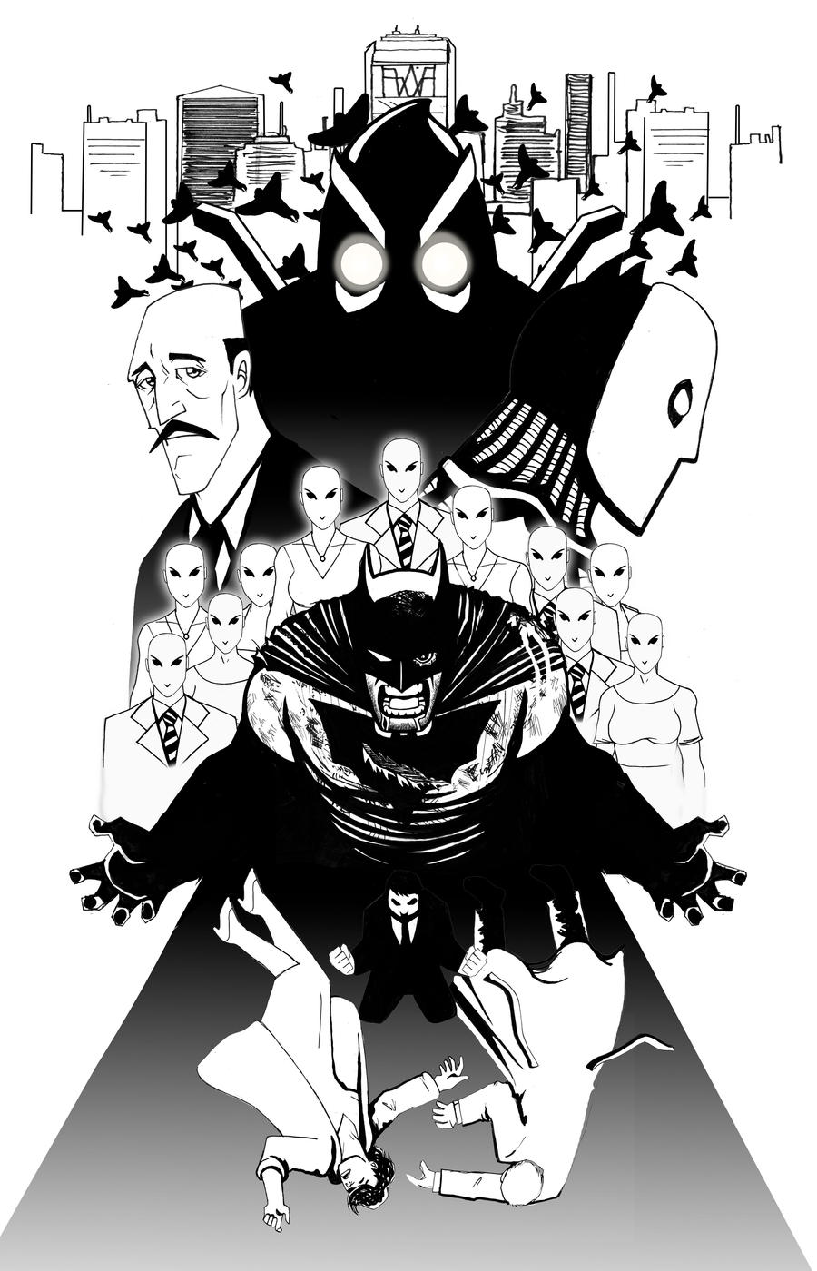 batman the court of owls black and white by radmanrb on deviantart