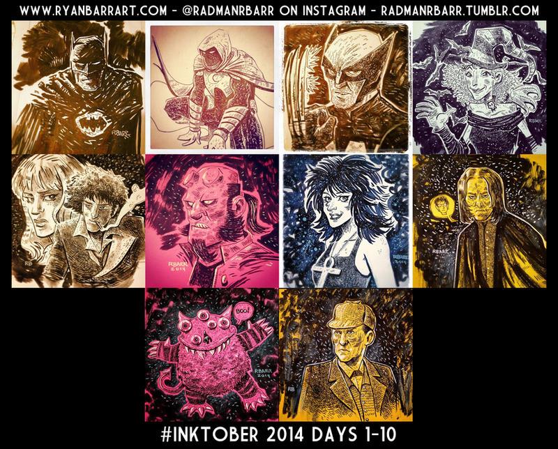 Inktober Days 1-10 by RADMANRB