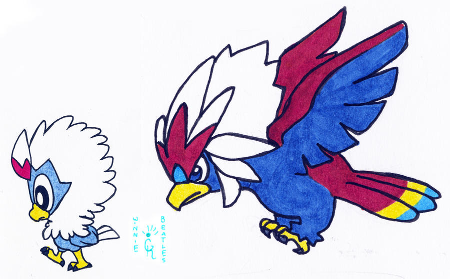 walky rufflet and braviary by porcubird on deviantart