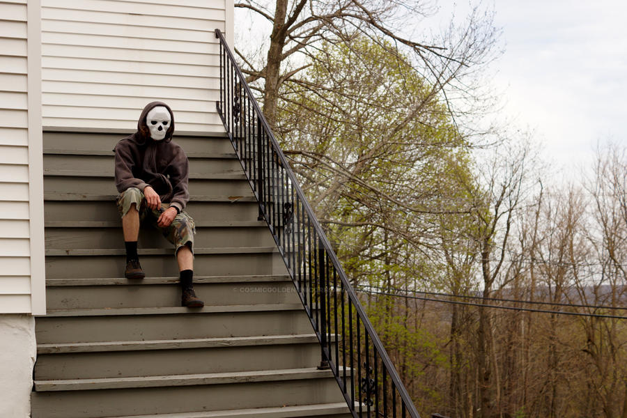 Skeleton Boy Sits on the Staircase to Nowhere by cosmicgoldenunicorn