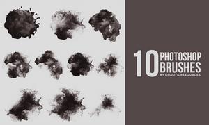 10 Watercolor - Grunge photoshop brushes