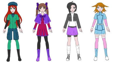 Main 4 OC Digigirls in their virtual outfits