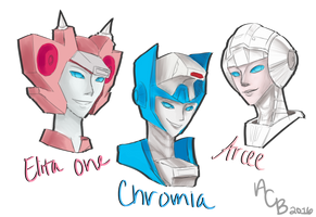Elita-One, Chromia and Arcee by AutoConBuddy