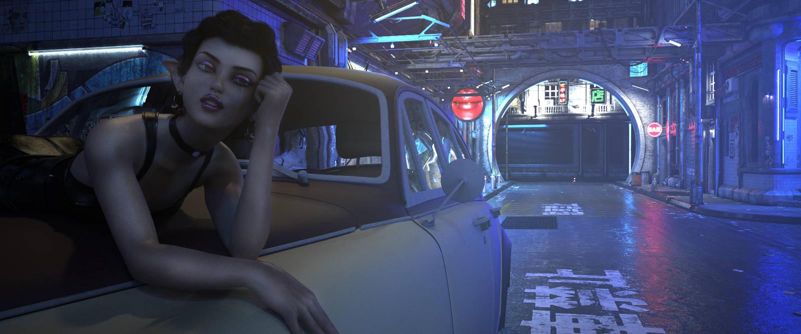 Cyberpunk City at Night