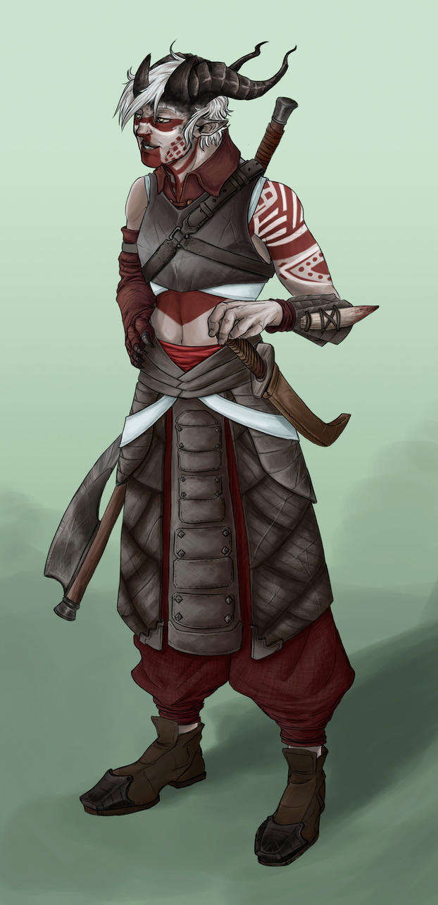 OC Qunari warrior - now in colours! by vonPipkin