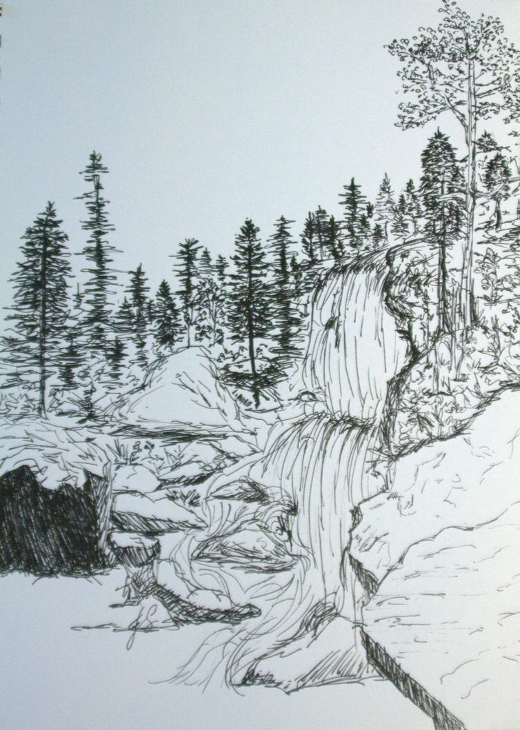 Line Drawing Waterfall : Waterfall sketch by artfromnature on deviantart
