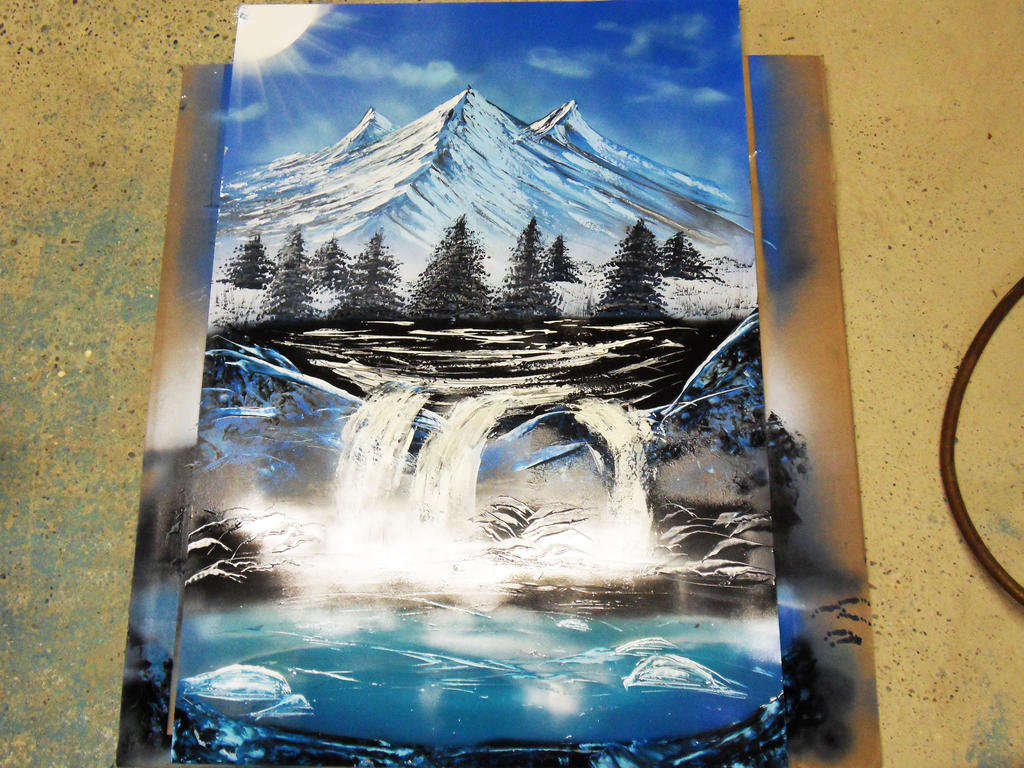 Spray paint painting mountains, waterfalls , rocks by Airgone