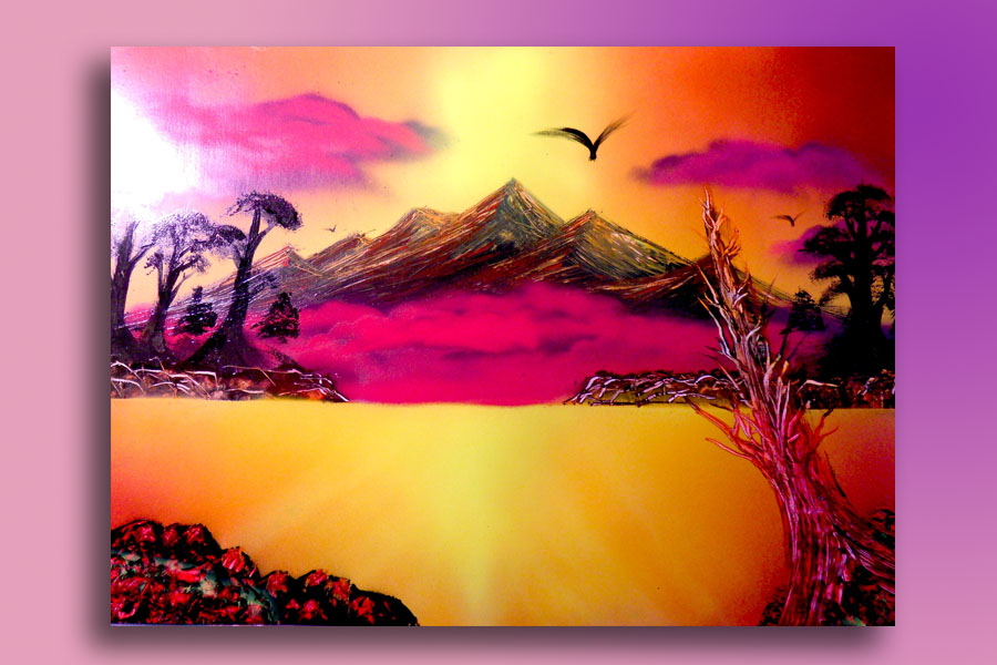 Spray Paint Mountains Sunset Big Size By Airgone