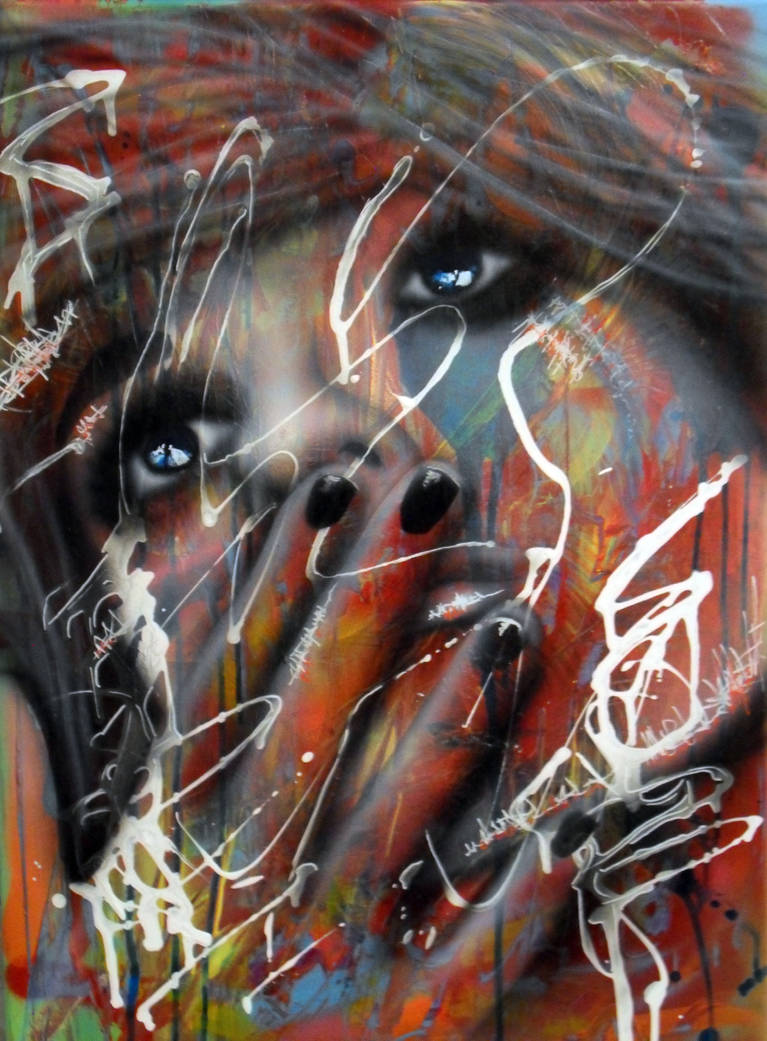 Airbrush and spraypaint on big canvas StreetSoul