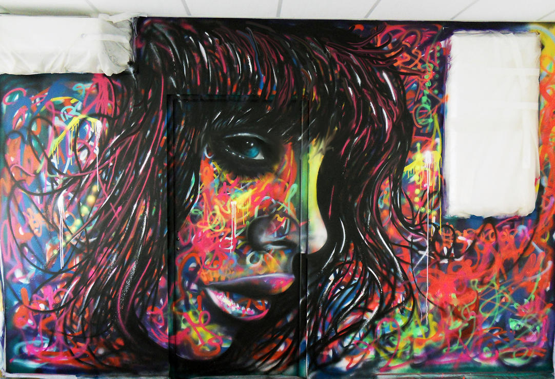 Spray paint and airbrush mural acrylic by airgone on for Airbrush mural painting