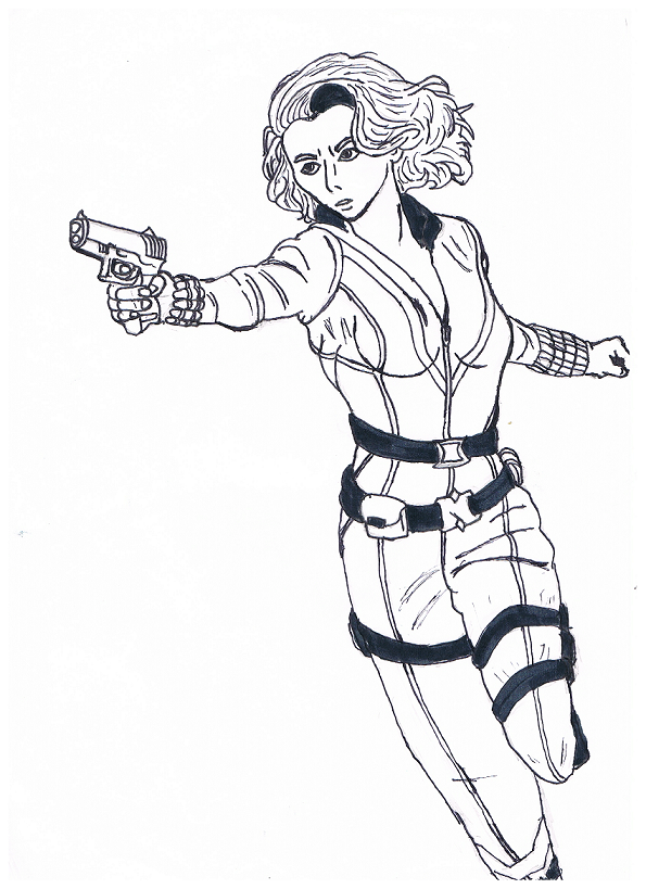 Black widow drawing