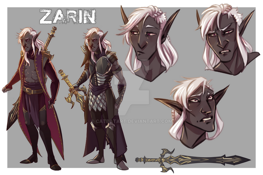 Character Sheet Commission: Zarin the Drow by CatBatArt
