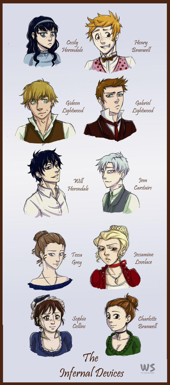 Character Chart - The Infernal Devices by whitespirit
