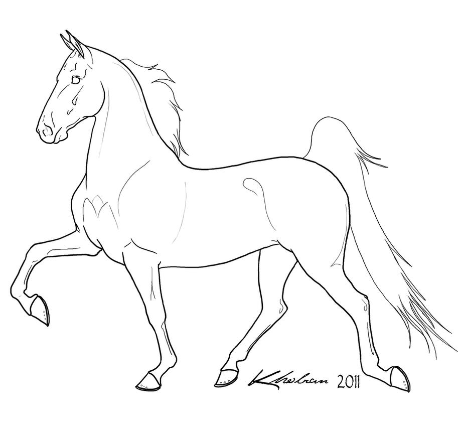 Line Drawing Horse : Gaited horse lineart by kholran on deviantart