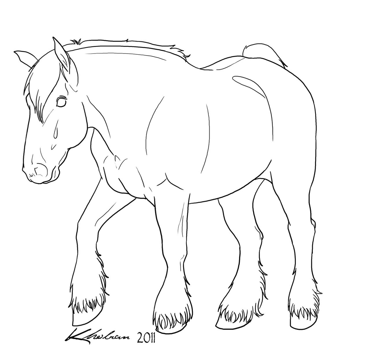 Draft Horse Lineart By Kholran On Deviantart Draft Coloring Pages