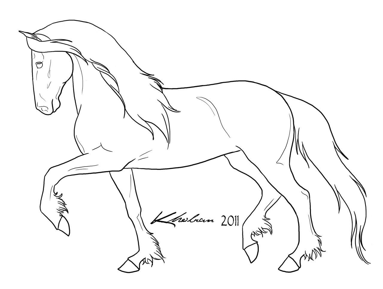 Line Drawing Horse : Friesian lineart by kholran on deviantart