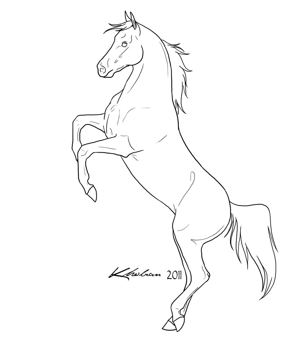 simple horse coloring pages | Rearing Horse Easy Coloring Pages
