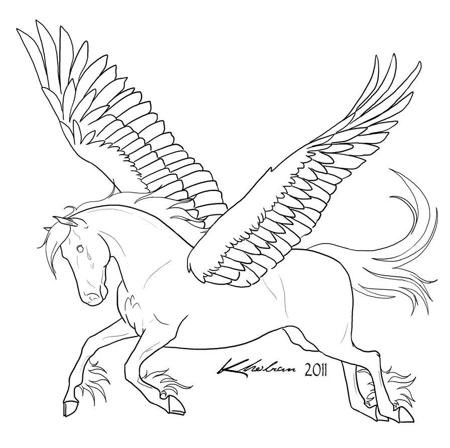 coloring pages pegasus - pegasus lineart by kholran on deviantart