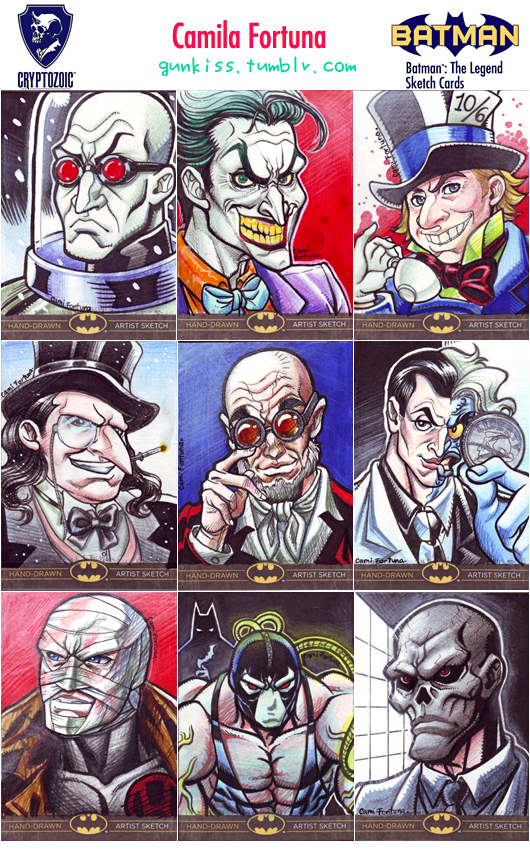 Cryptozoic's DC Sketchcards: Handful of Villains by CamiFortuna