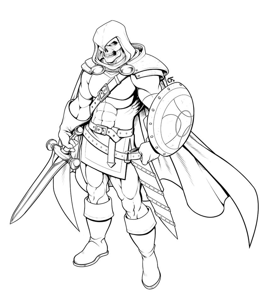 Line Drawing Knight : Taskmaster knight commission lineart by camifortuna on