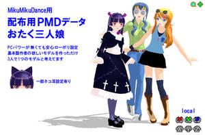 MMD 0taku 3 girls by damedatarou