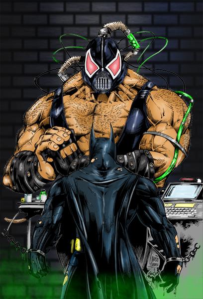 Batman vs Bane Coloured by Highlander0423