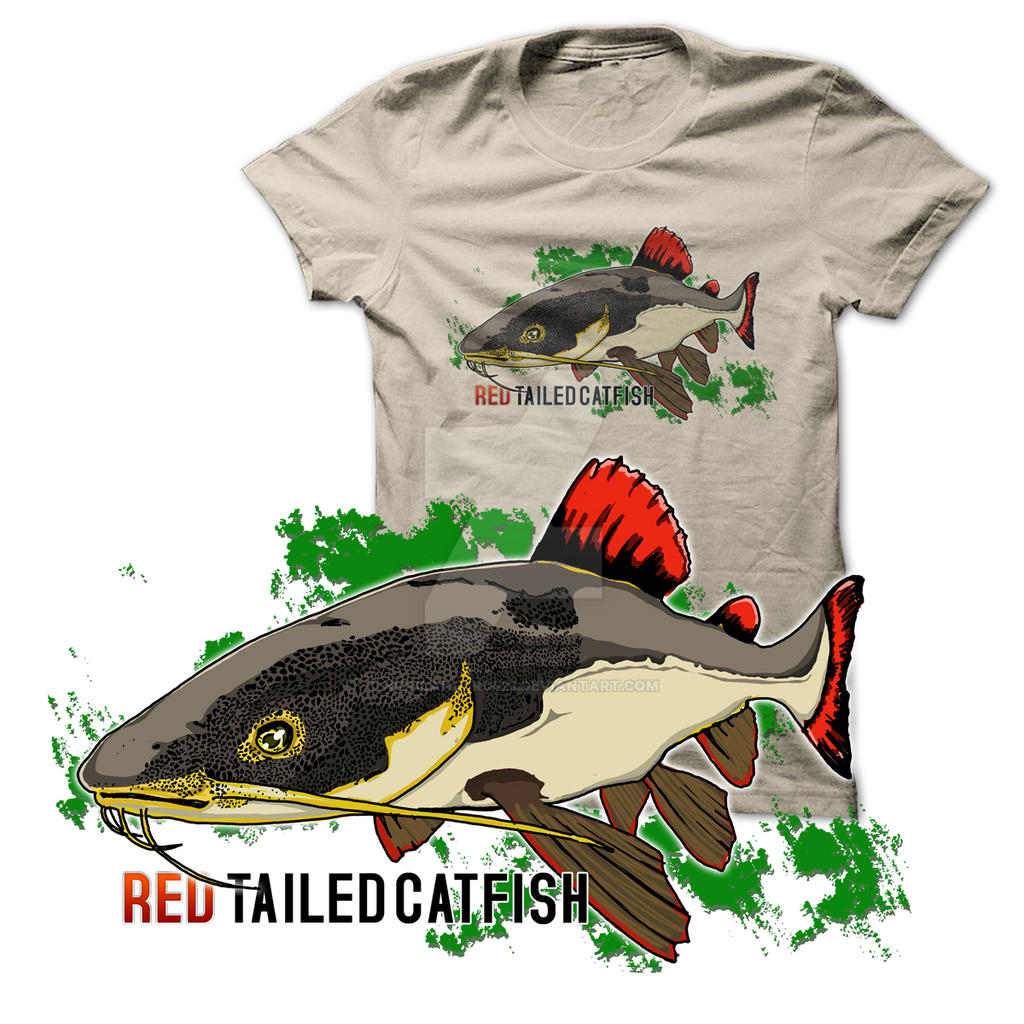 Red Tailed Cat Fish Tee Shirt.