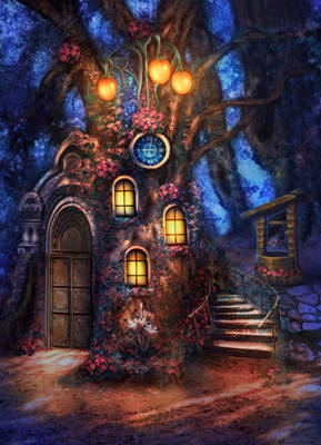 Little house in night forest