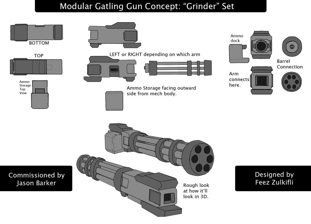 GRINDER Gatling gun set commission by SealSlammer on DeviantArt