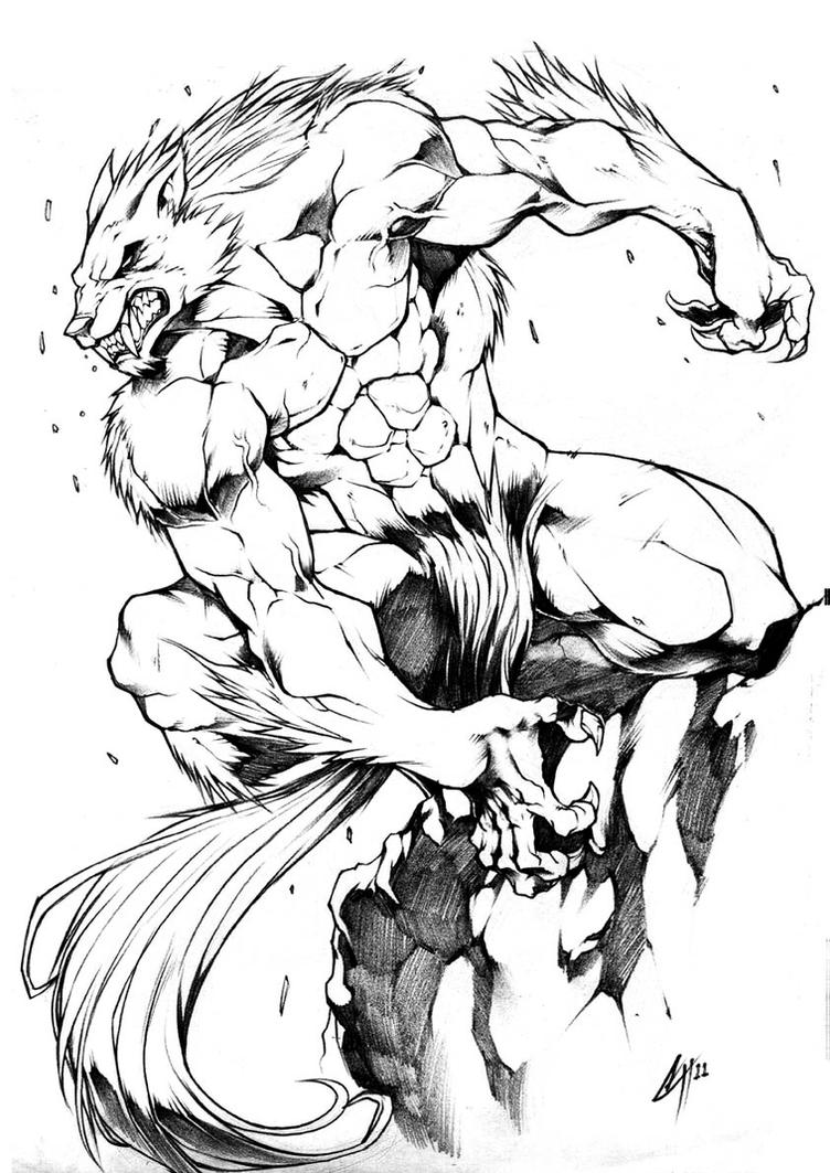 Werewolf  LIne art to Icy by Chaos-Draco