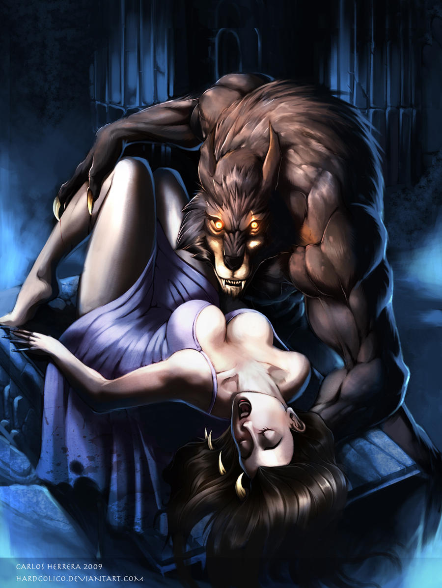 Werewolf with girl sexy art erotic movie