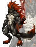 Red werewolf 2 COMISSION WORK