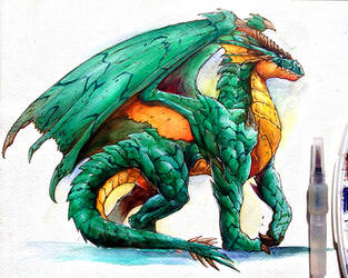 Practice a dragon in water colors