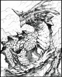 Guardian of the forest Line art by Chaos-Draco