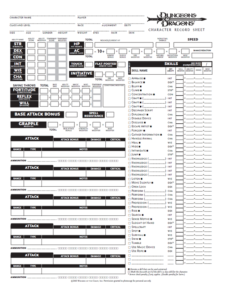 Blank Dnd Character Sheet Pg By Seraph Colak
