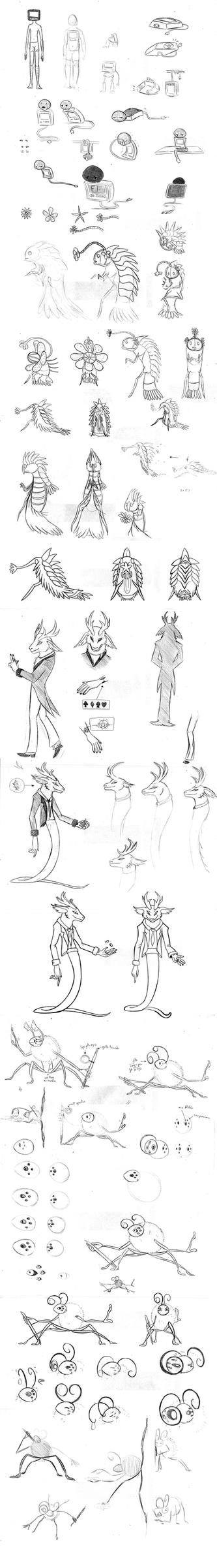 School - Character design sketchdump by Fluna